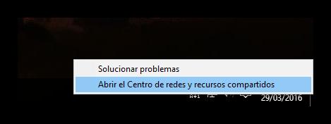 Abrir centro de redes y recursos compartidos en Windows 10
