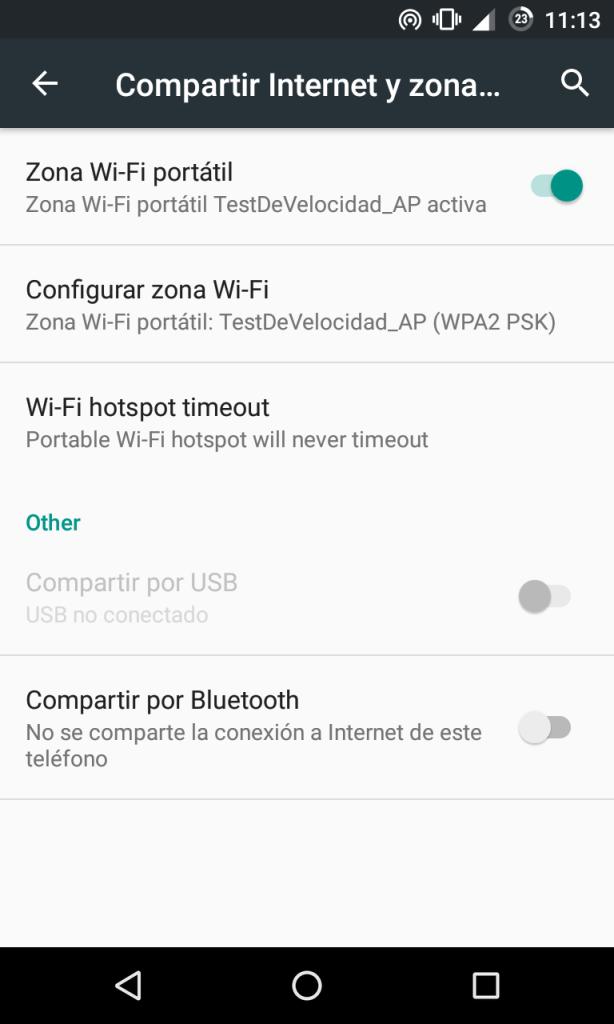 Activar punto de acceso en Android