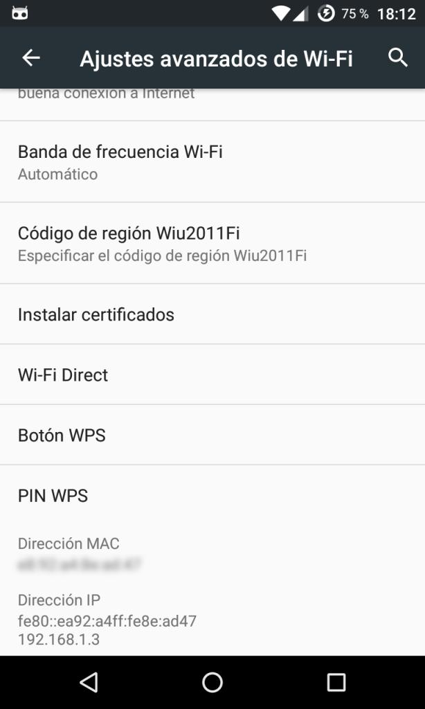 Ajustes avanzados de Wi-Fi en Android