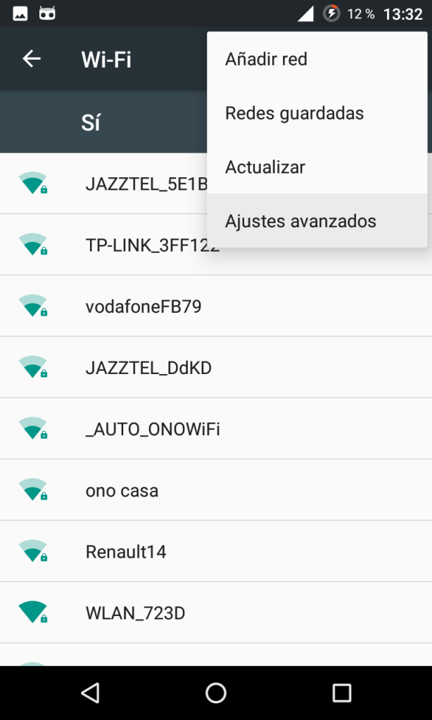Ajustes de Wi-Fi en Android