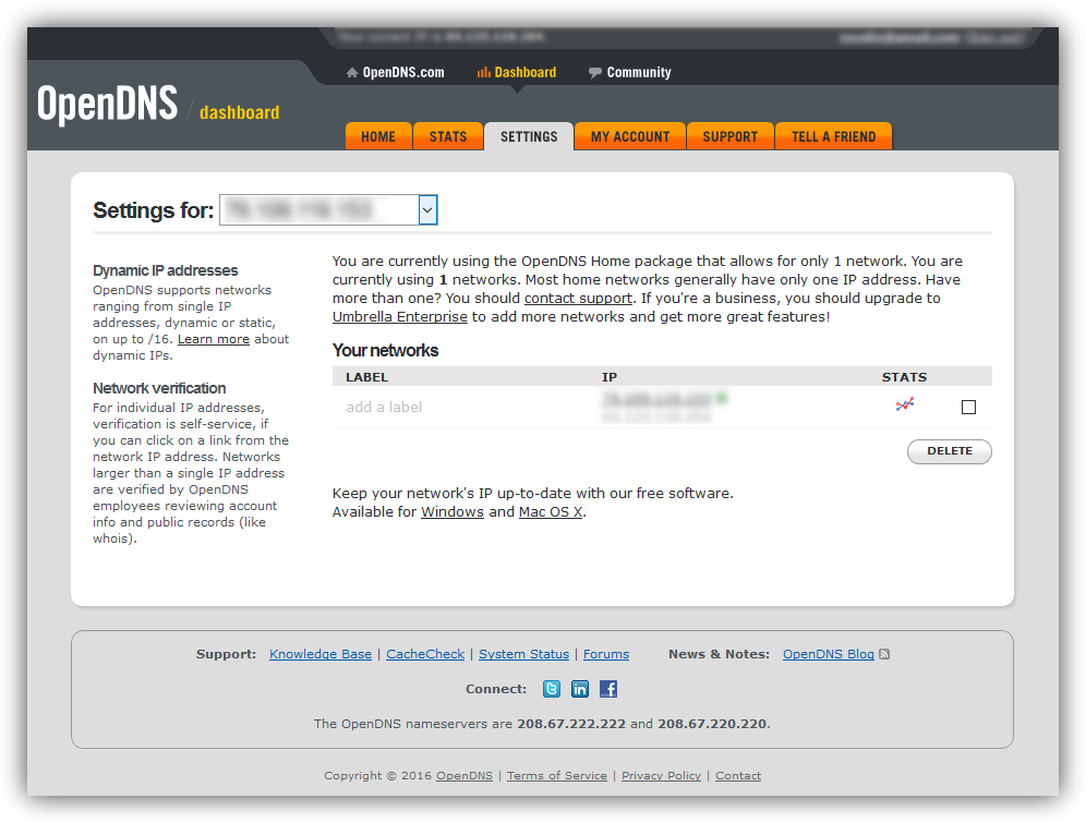 Ajustes de filtros OpenDNS
