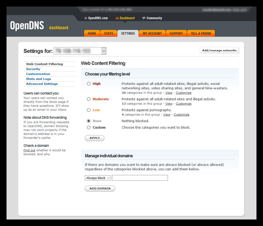 Aplicar filtros cuenta OpenDNS