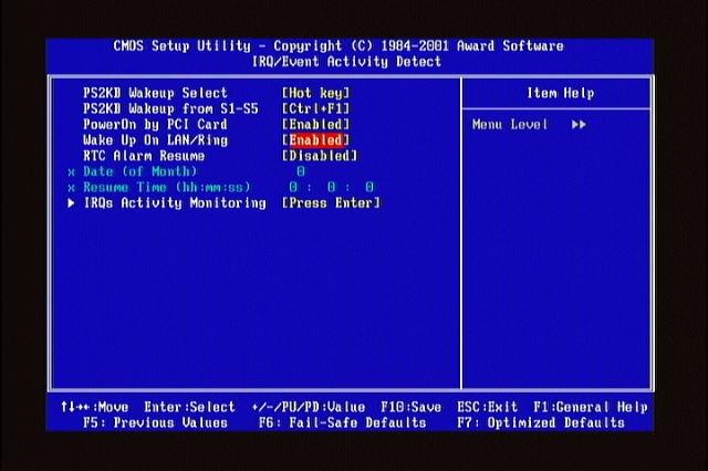 BIOS wake on lan