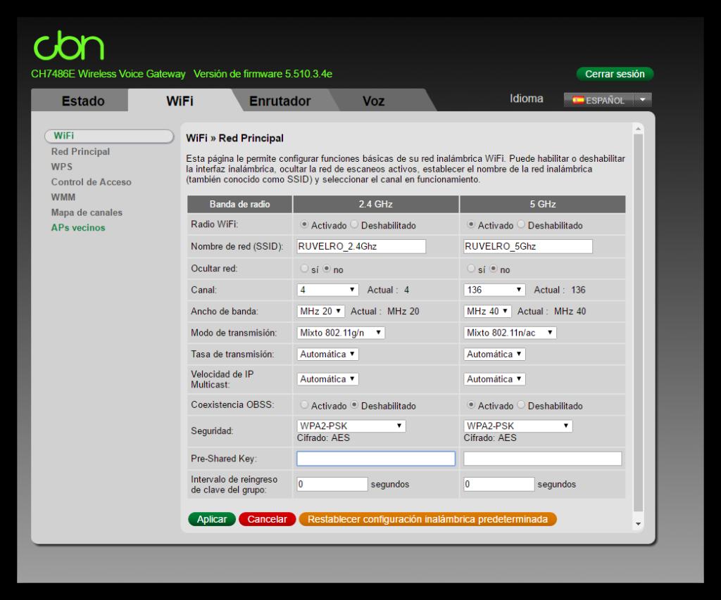 Configuración Wi-Fi router ONO