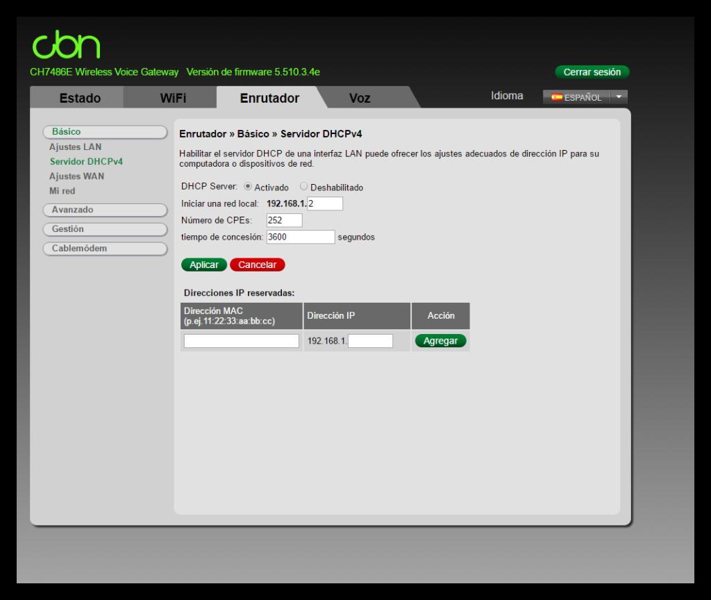 Configurar DHCP router ONO CBN CH7486E