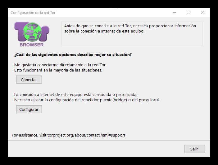 Configurar Tor Browser para conectarse a Tor