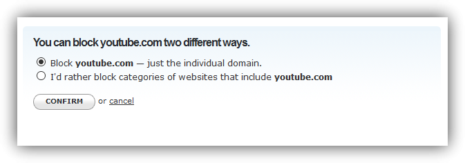 Confirmar bloqueo YouTube OpenDNS