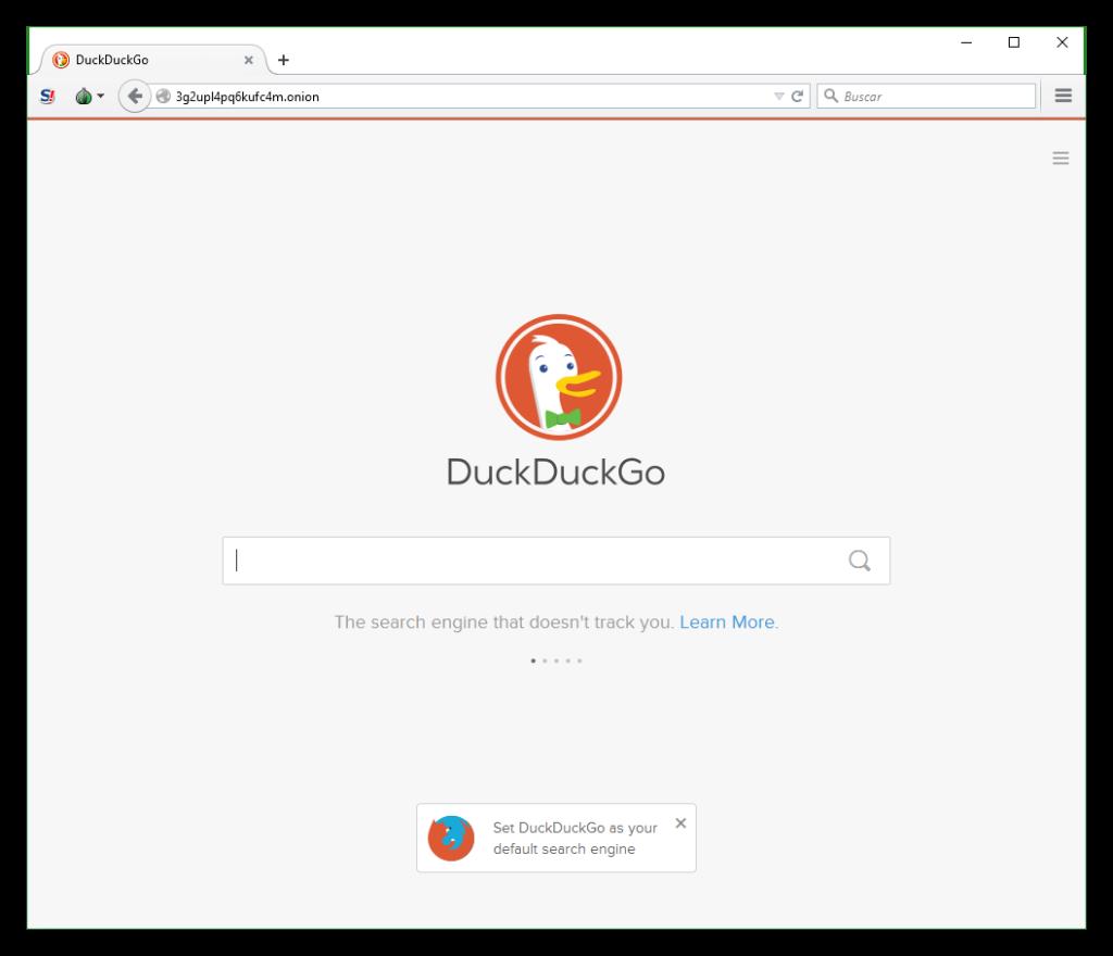 DuckDuckGo desde la red Tor