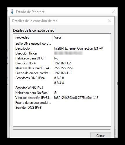 Estado y datos de la conexión en Windows 10