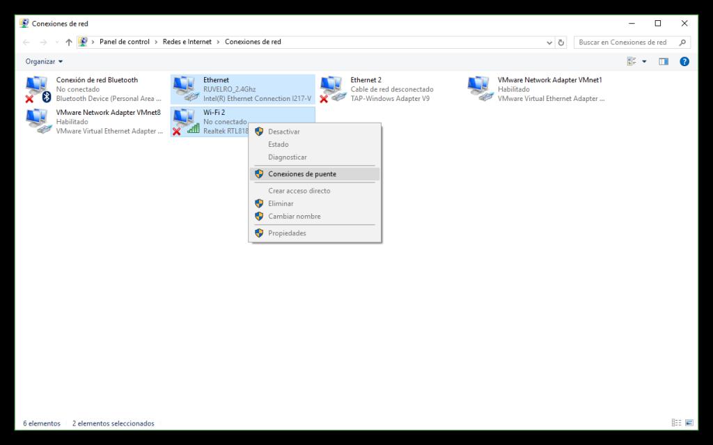 Habilitar conexión puente en Windows 10