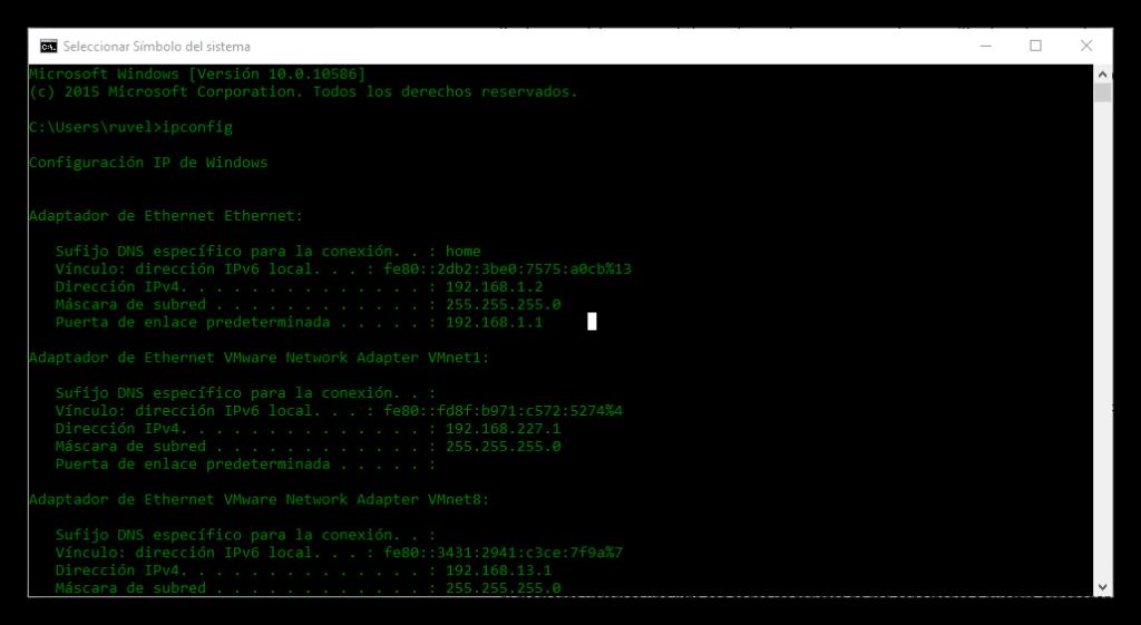 Ipconfig en Windows 10