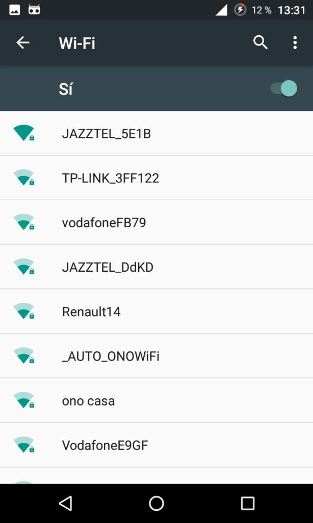 Lista de redes Wi-Fi en Android