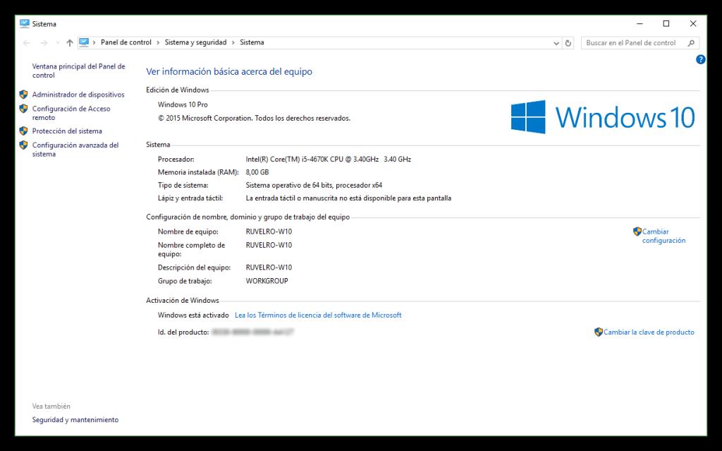 Propiedades del sistema de Windows 10