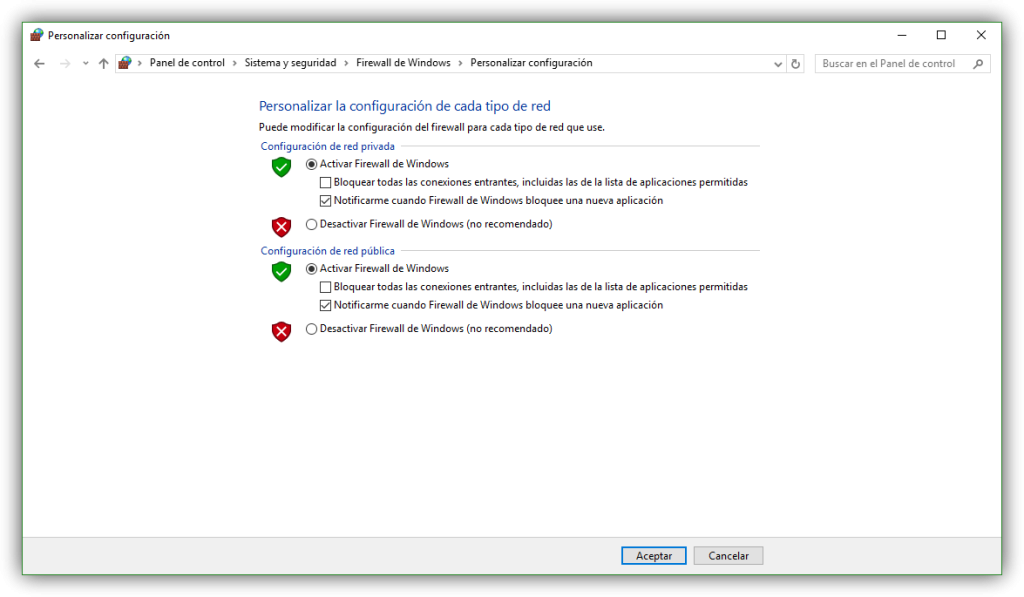 Activar o desactivar firewall de Windows 10