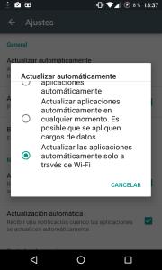 Actualizar Android solo en Wi-FI