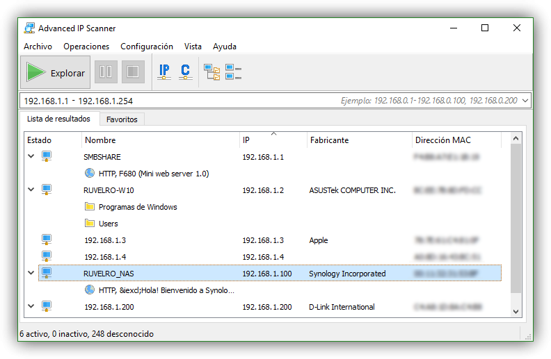 Advanced IP Scanner - Lista de hosts y recursos