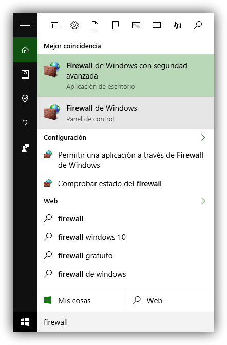 Buscar Firewall Cortana Windows 10