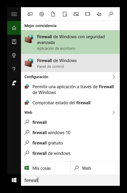 Buscar Firewall Cortana Windows 10