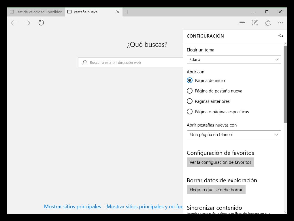 Configuración de Microsoft Edge