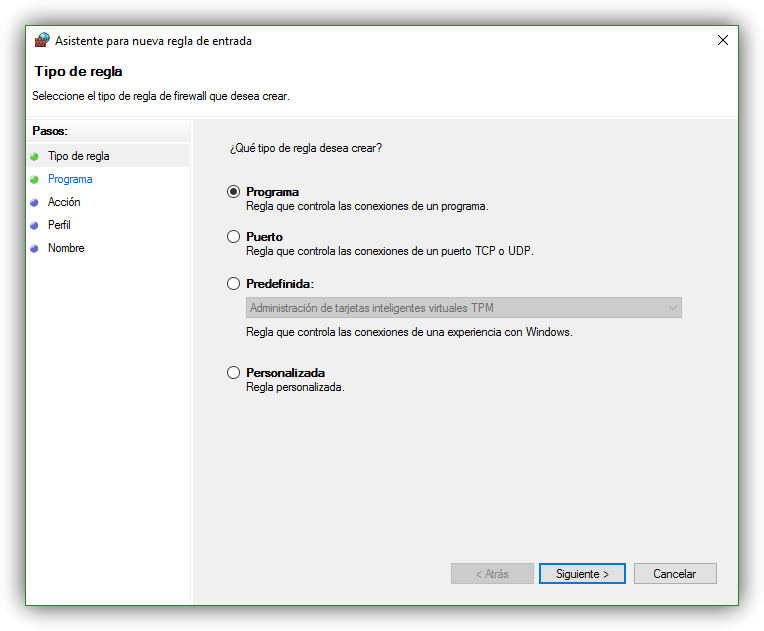 Crear una nueva regla para el firewall de Windows 10