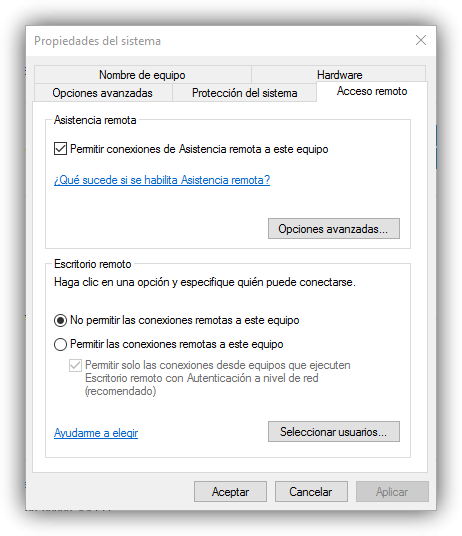 Habilitar escritorio remoto Windows