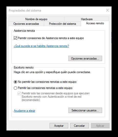 Habilitar escritorio remoto Windows