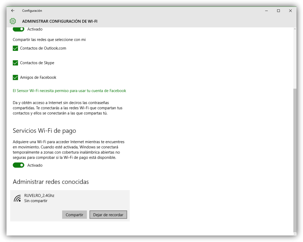 Olvidar red Wi-Fi en Windows 10