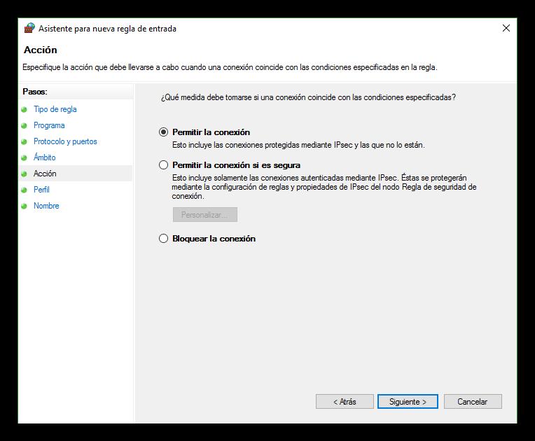 Permitir o bloquear el tráfico de la recla del firewall de Windows 10