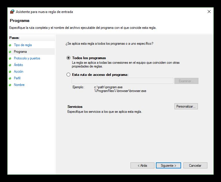Seleccionar el programa para la regla del firewall de Windows 10