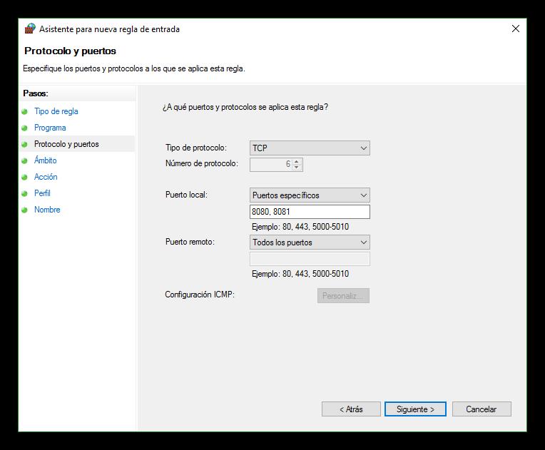 Seleccionar los protocolos y puertos del firewall de Windows 10