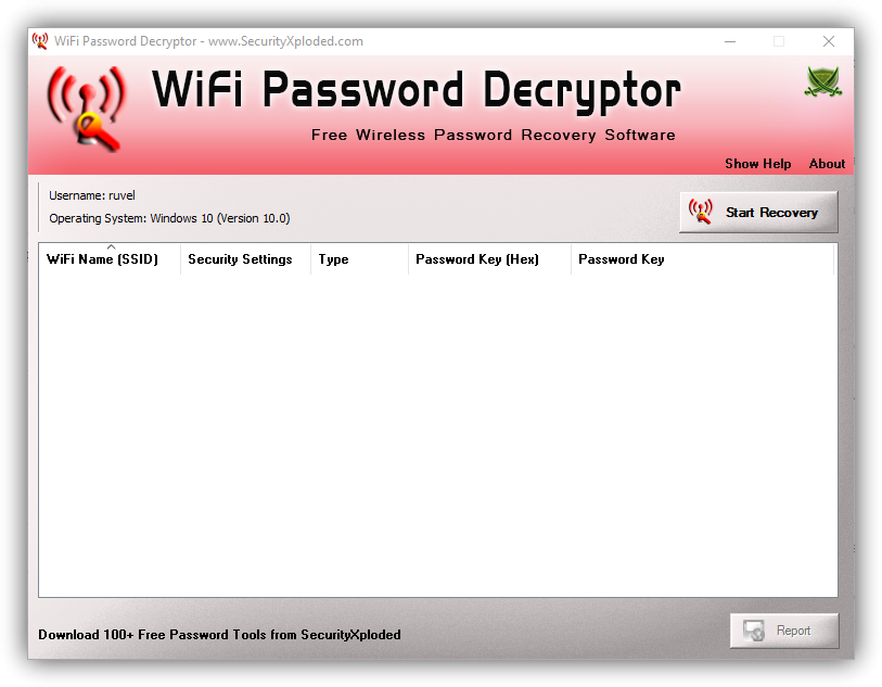 WiFi Password Decryptor - Ventana printipal