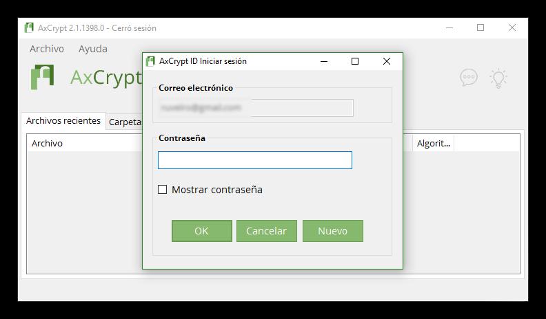 AxCrypt - Contraseña