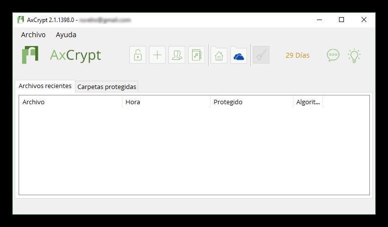 AxCrypt - Ventana principal