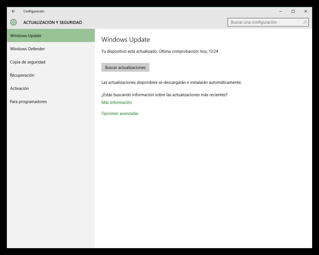 Configurar actualizaciones y seguridad Windows 10