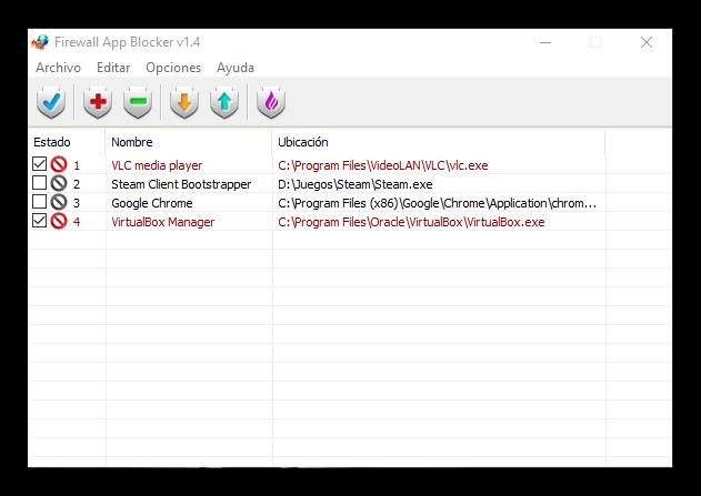 Firewall App Blocker - Aplicaciones bloqueadas