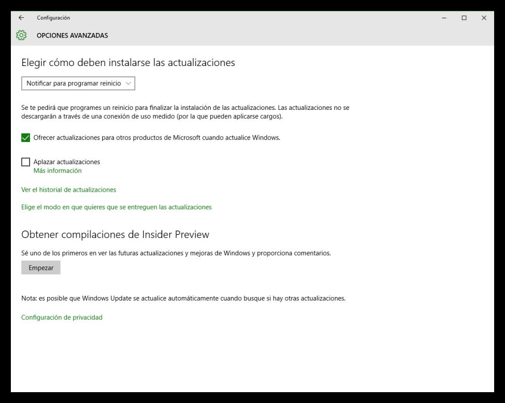 Opciones avanzadas de actualizaciones Windows 10