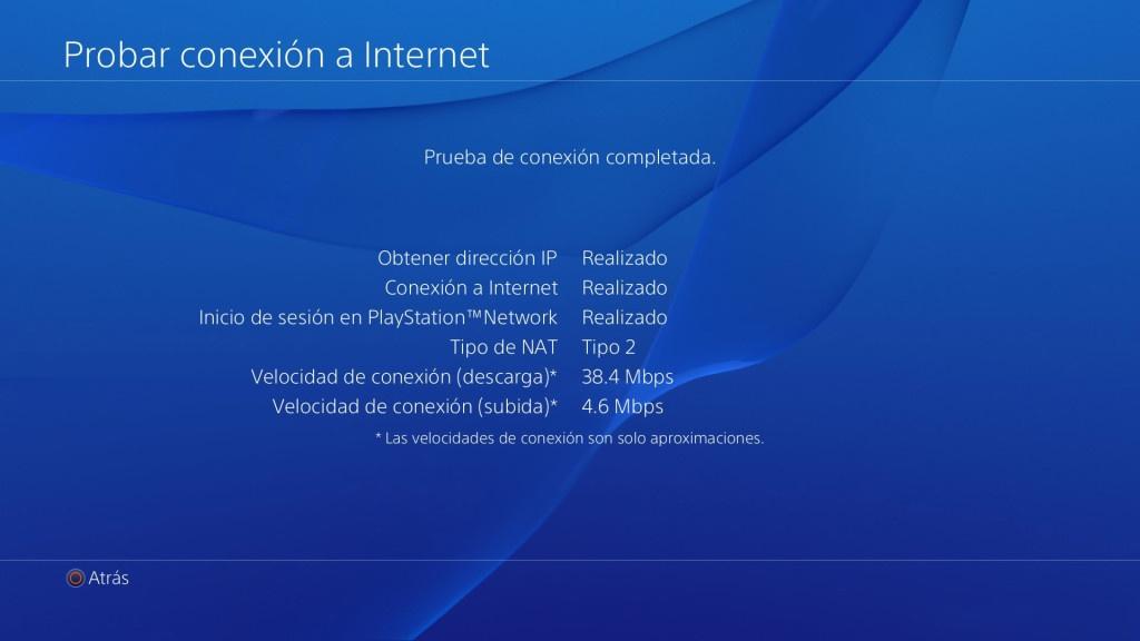 Probar conexión Internet PS4