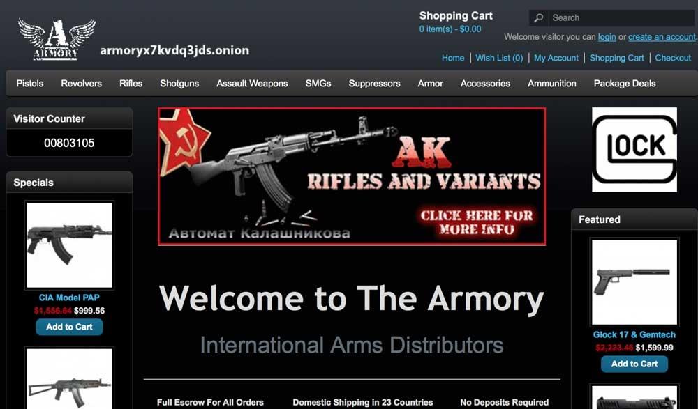 Página armas Dark Web