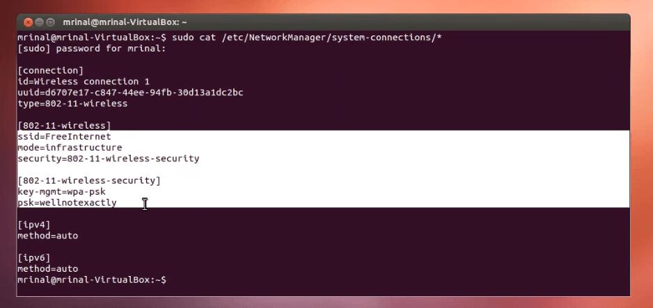 contraseñas WiFi Linux