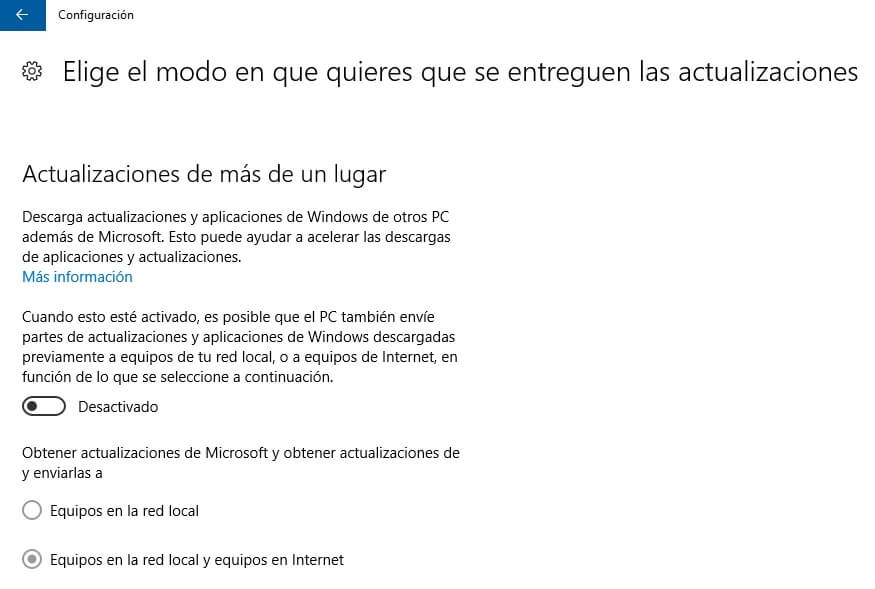 P2P ancho de banda windows 10
