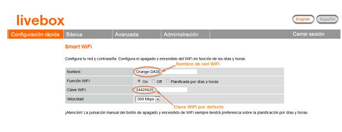 cambiar clave wifi orange