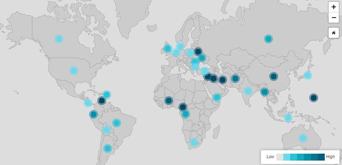 mapa fallos en internet