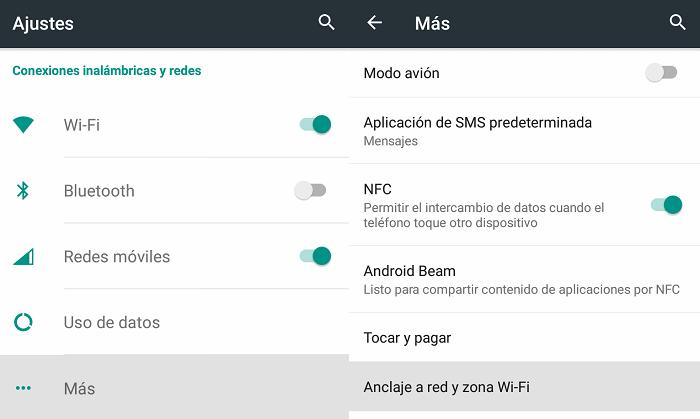 compartir conexión android