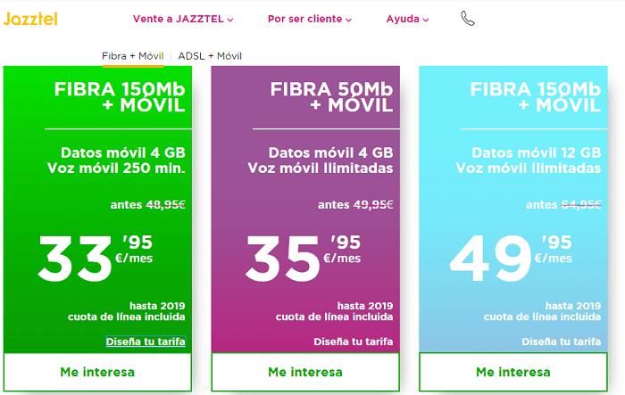 jazztel tarifas fibra y móvil