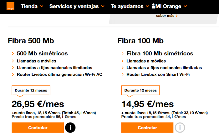 tarifas de fibra óptica orange