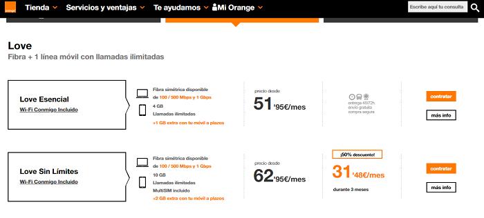 tarifas fibra y móvil orange
