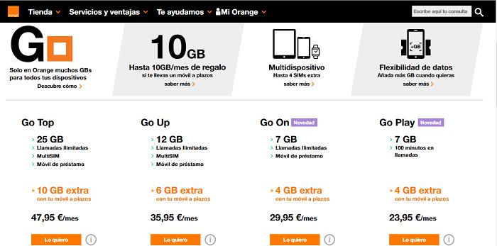 tarifas go orange