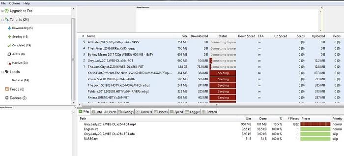 utorrent pantalla