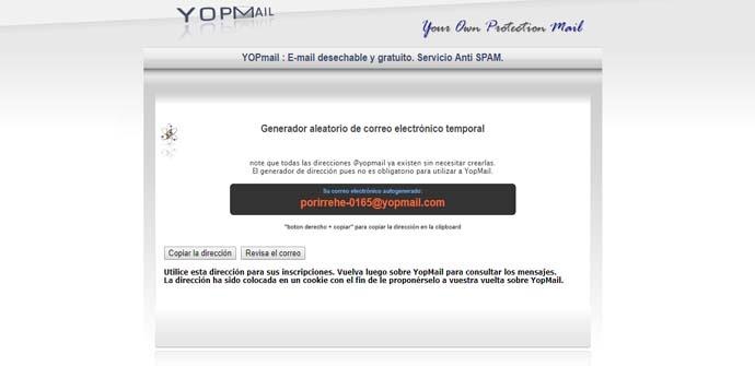 Crear correos electrónicos desechables con YOPMail