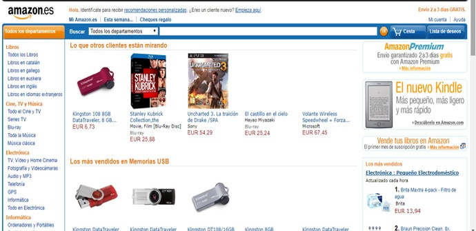 Amazon vista con Wayback Machine